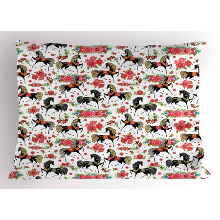 - Horses Pillow Sham Abstract Floral Arrangement and Silver Dapple Stallions Vintage Animal Silhouettes, Decorative Standard Size Printed Pillowcase, 26 X 20 Inches, Multicolor, by Ambesonne