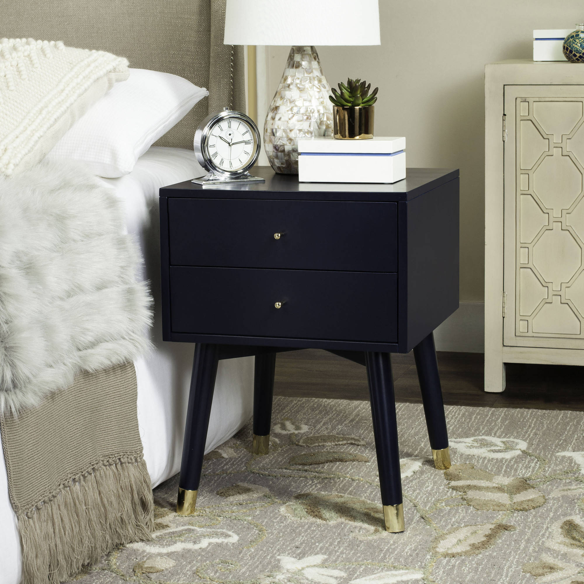 Safavieh Lyla Mid Centry Retro 2-Drawer Nightstand, Multiple Colors