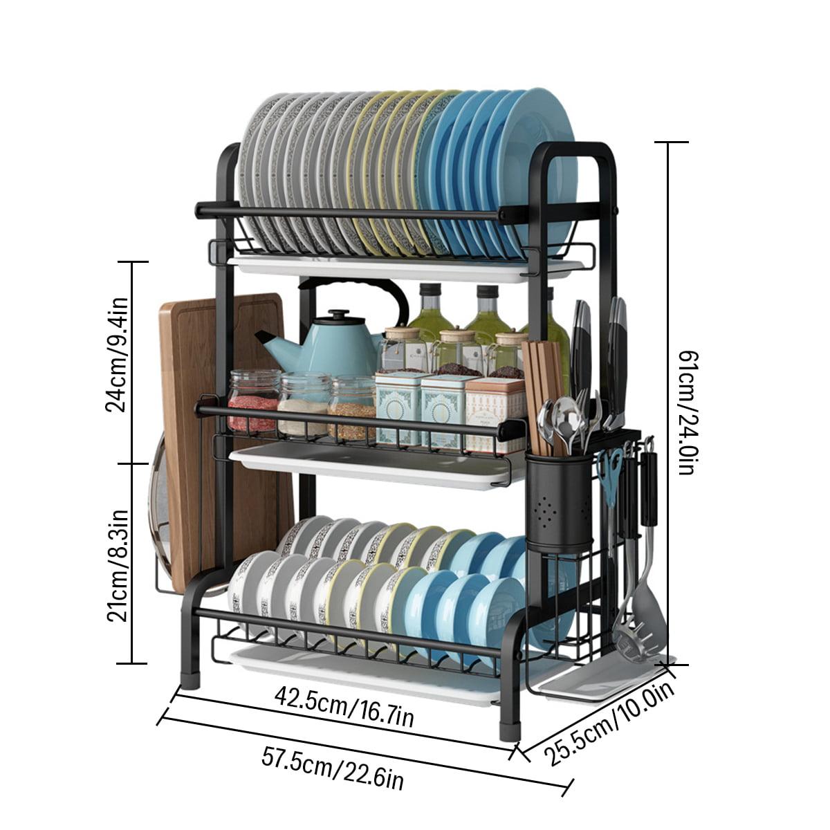 3 Tier Dish Drying Rack Kitchen Storage Shelf Display Stand Drainer Utensils Holder Stainless Steel Walmart Com Walmart Com