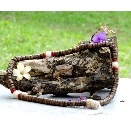 Extra Large Antiqued Yak Bone Mala with Naga Shell Guru Bead and Spacers