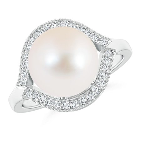 31ea96c0e3424 Angara - June Birthstone - Round Solitaire Freshwater Cultured Pearl Ring  with Wrapping Diamond in 14K White Gold (10mm Freshwater Cultured Pearl) -  ...
