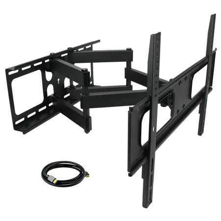 MegaMounts Full Motion Double Articulating Wall Mount for 32-70 Inch Displays with HDMI Cable (Double Tom Mount)