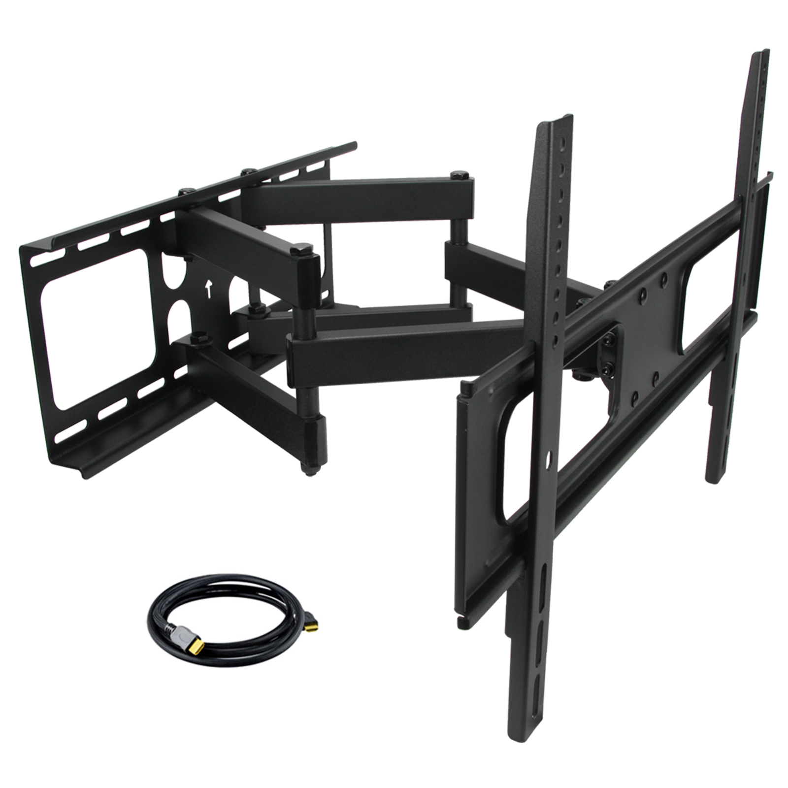 MegaMounts Full Motion Double Articulating Wall Mount for 32-70 Inch Displays with HDMI Cable