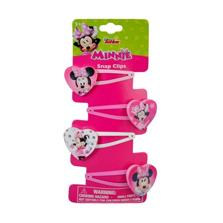 Novelty Character Fashion Accessories Disney Minnie Mouse Bowtique Snap Clips (4pc - Minnie Mouse Hair Clips