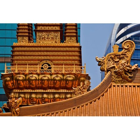 Gold Dragons Golden Temple Roof Top Print Wall Art By
