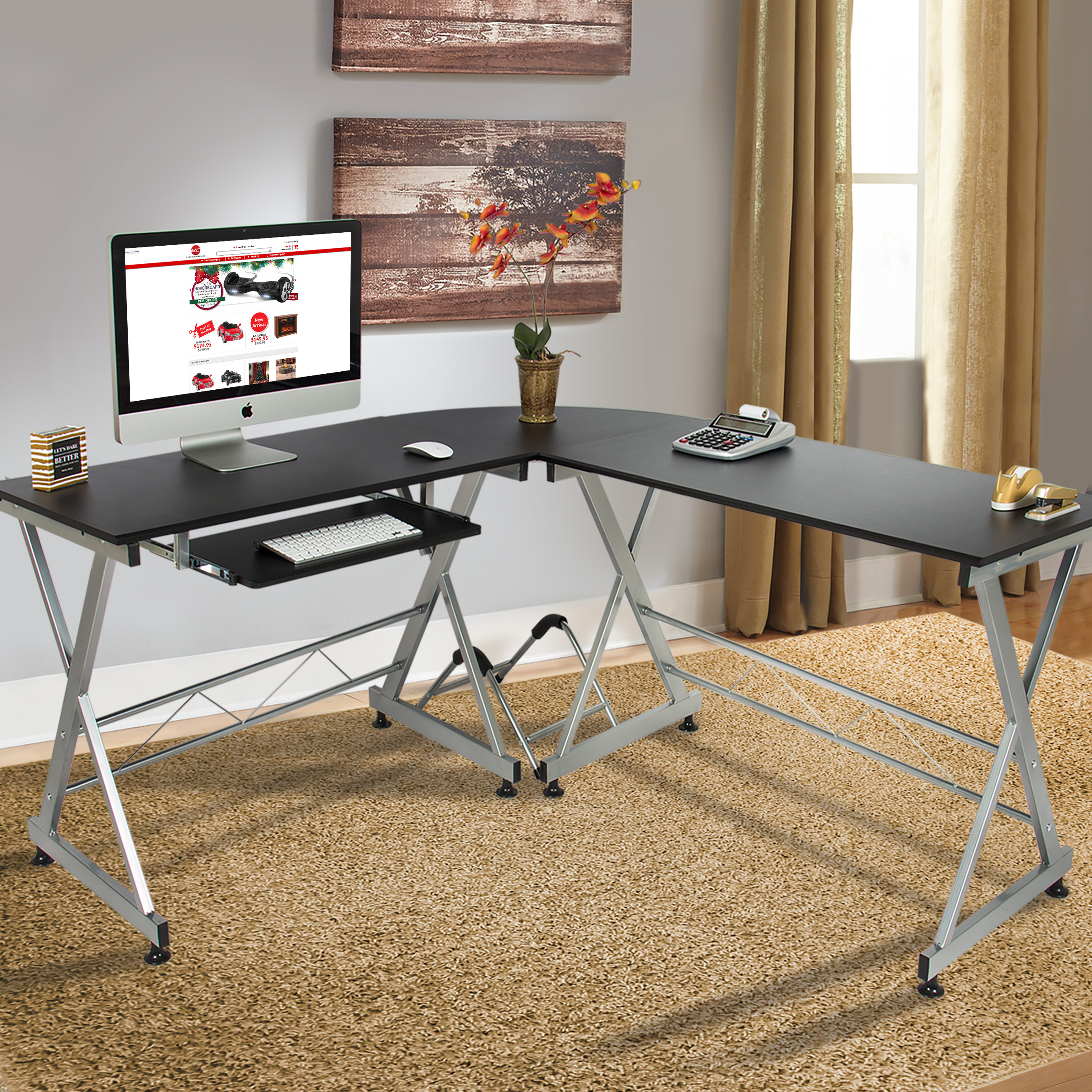 office computer table. Wood L-Shape Corner Computer Desk PC Laptop Table Workstation Home Office Black