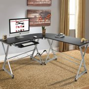 best choice products wood l shape corner computer desk pc laptop table workstation home office
