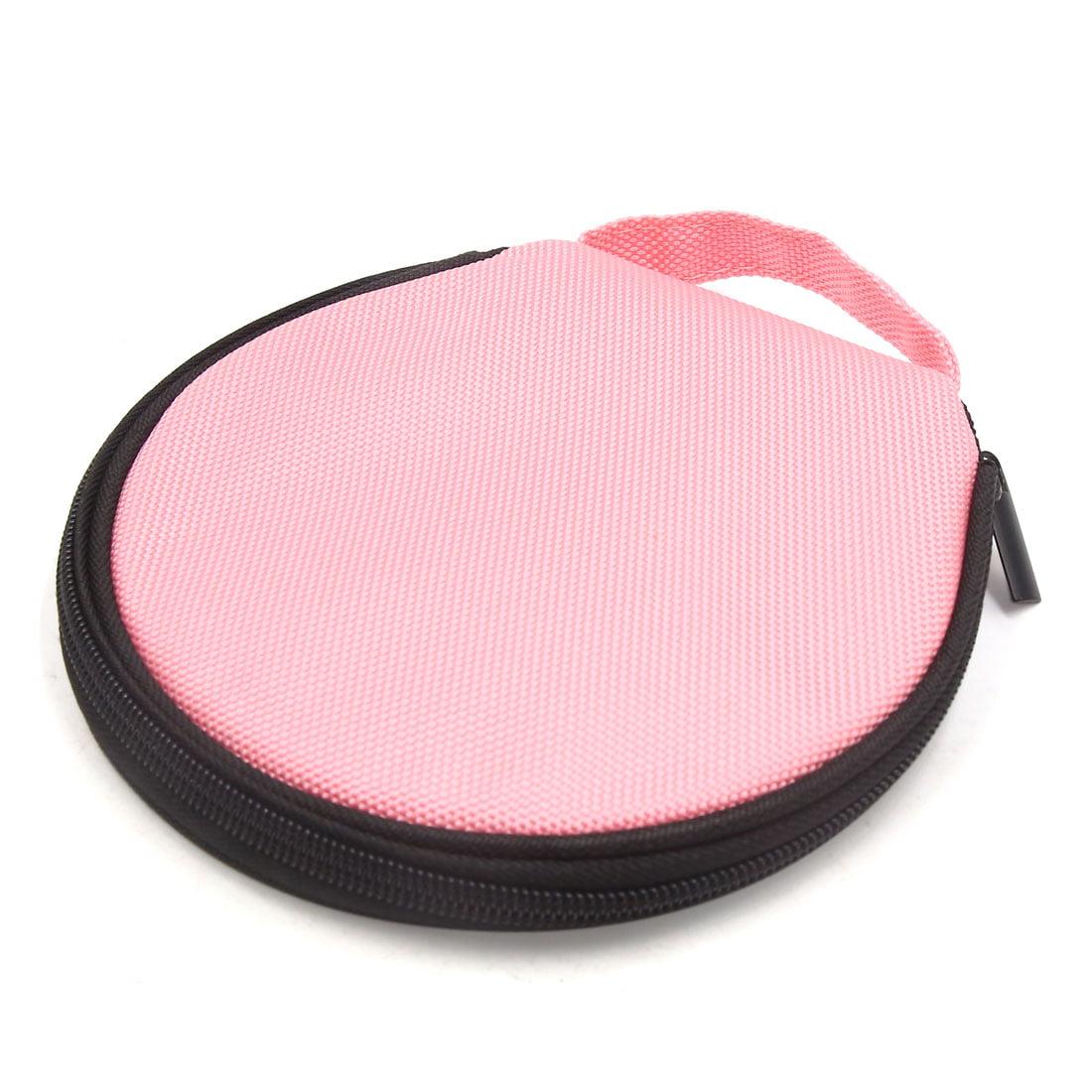 Pink Zipper Closure Round CD Discs Holder Bag Storage Carry Case Wallet for Car