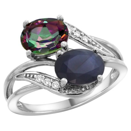 14K White Gold Diamond Natural Mystic Topaz & Australian Sapphire 2-stone Ring Oval 8x6mm, size 5