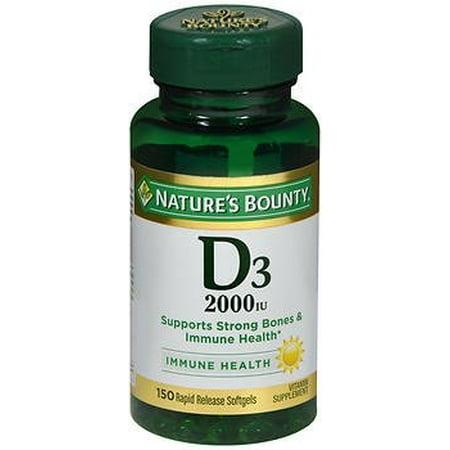 Nature's Bounty Vitamin D3 2000 IU Softgels BONUS, 150 Softgels 150 Softgels Healthy