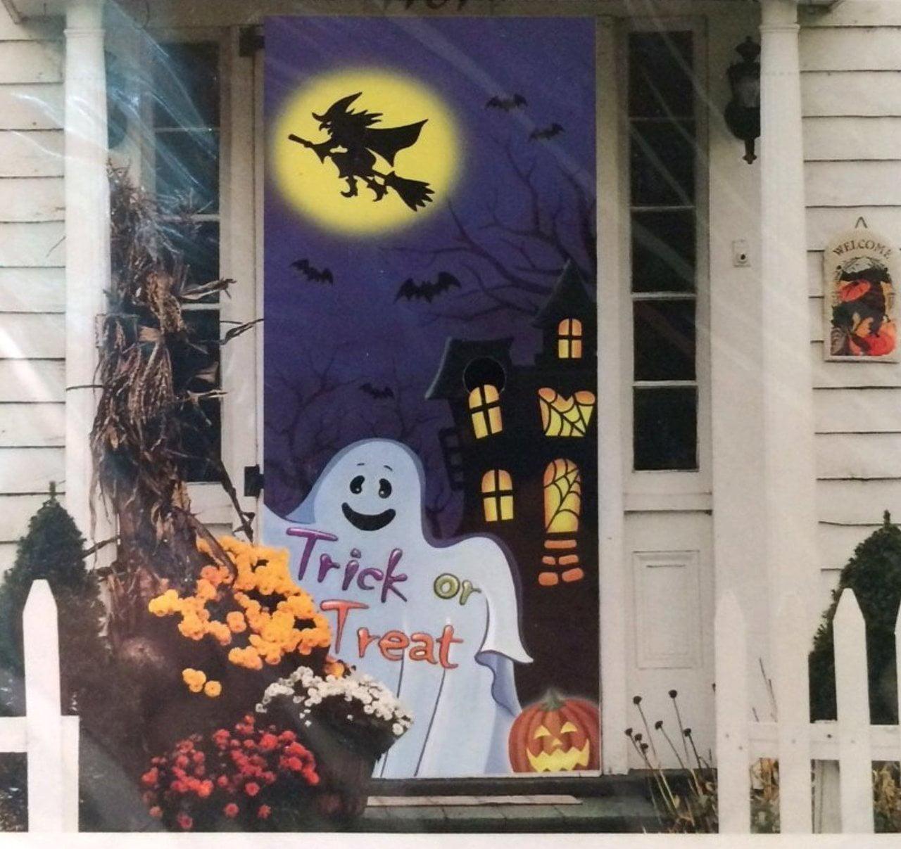Halloween Door Cover 30 X 72 Ghost Witch Haunted House