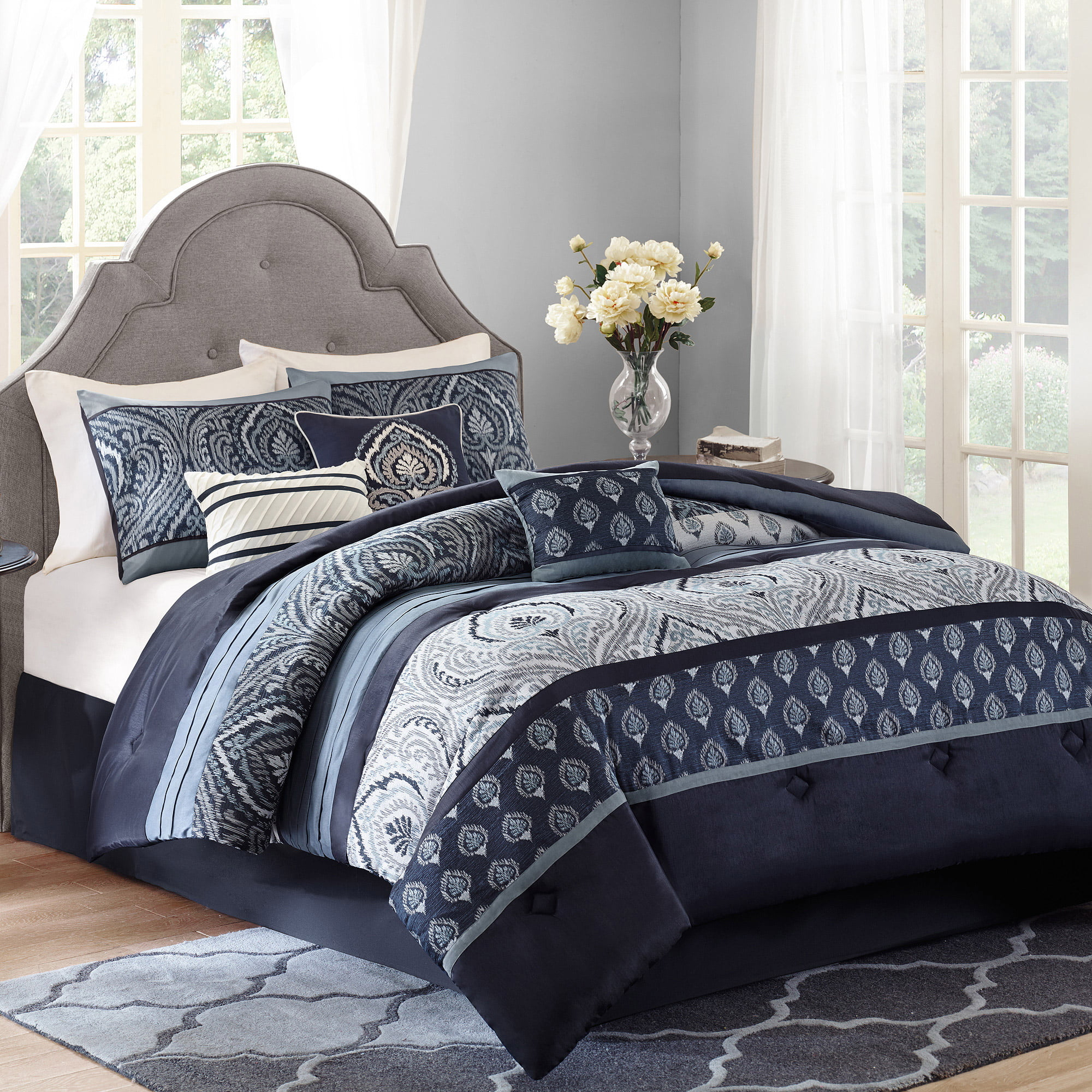 Bright blue bedding - Better Homes And Gardens Indigo Paisley 7 Piece Comforter Set