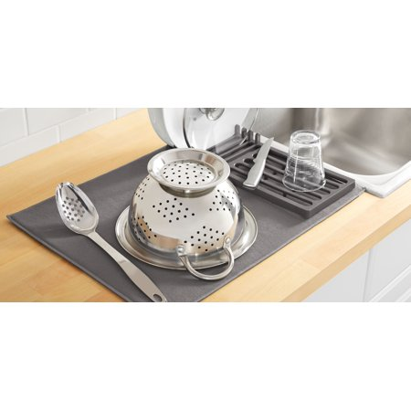 Mainstays Kitchen Dish Rack With Microfiber Drying Mat