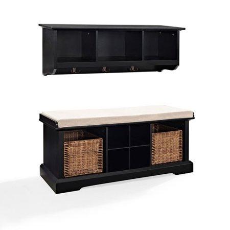 - Hayden Black Two Piece Entryway Bench and Shelf Set