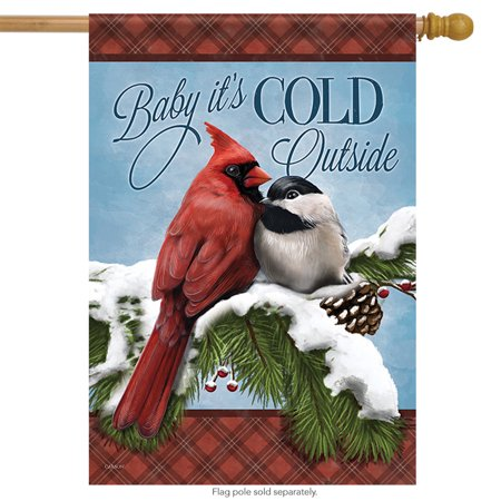 Fred Couples Masters Flag (Cozy Couple Winter Birds House Flag Double Sided Baby It's Cold Snow 28