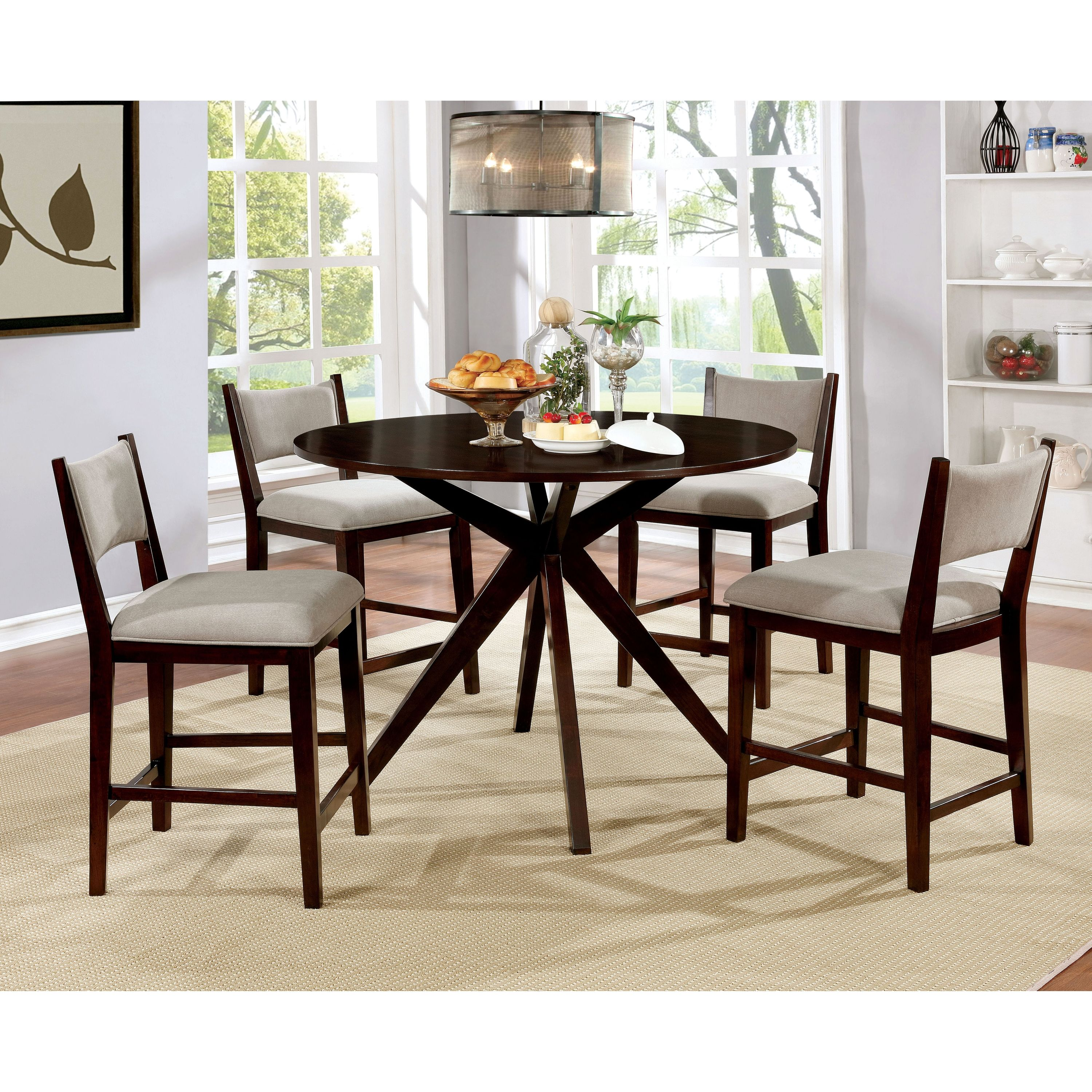 Furniture of America Wallace 5 Piece Contemporary Round Counter Height Dining Table Set, Brown Cherry