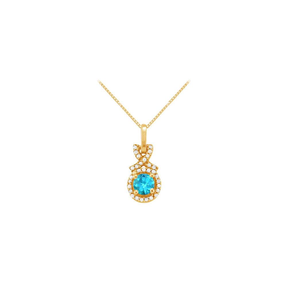 December Birthstone Blue Topaz with CZ Halo Pendant in 18K Yellow Gold Vermeil - image 2 de 2