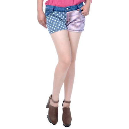 Patrick Star Shorts (S/M Fit Denim Blue Stars and Stripes Patriotic USA Summer Beach)