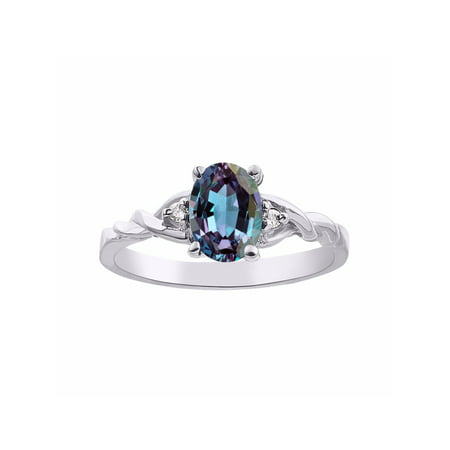 Diamond & Simulated Alexandrite Ring Set In Sterling Silver Solitaire Diamond Pearl Fashion Ring