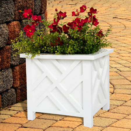 Plant Pot Holder, Planter Container Box by Pure Garden, White - Planter Box Centerpiece