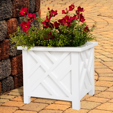 White Flower Boxes - Plant Pot Holder, Planter Container Box by Pure Garden, White