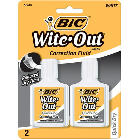 Bic Quick-Dry Correction Fluid, White, 2-Count