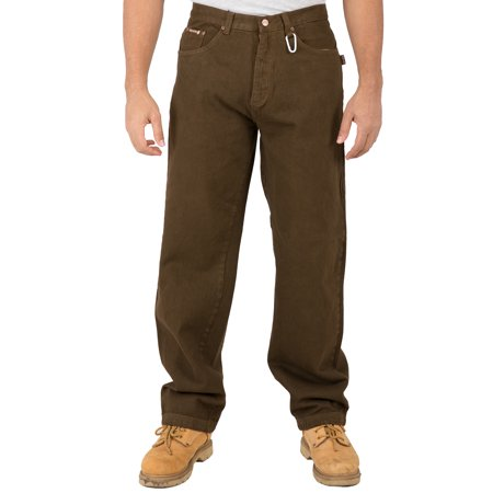 Vibes Mens Relax Straight Brown Color Denim 5 Pocket Jeans Carabiner Clips On Belt Loop