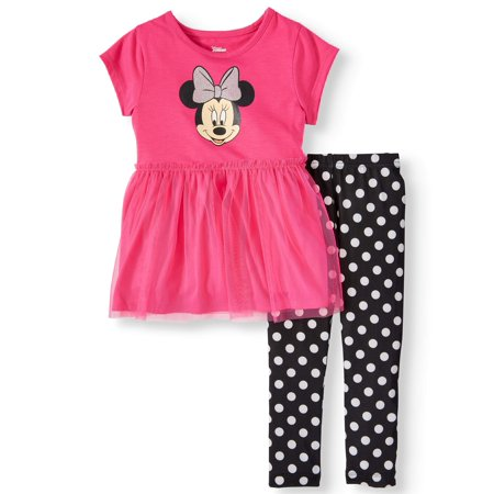 Minnie Mouse Outfit For Halloween (Minnie Mouse Short Sleeve Tulle Tunic & Polka Dot Leggings, 2pc Outfit Set (Toddler)