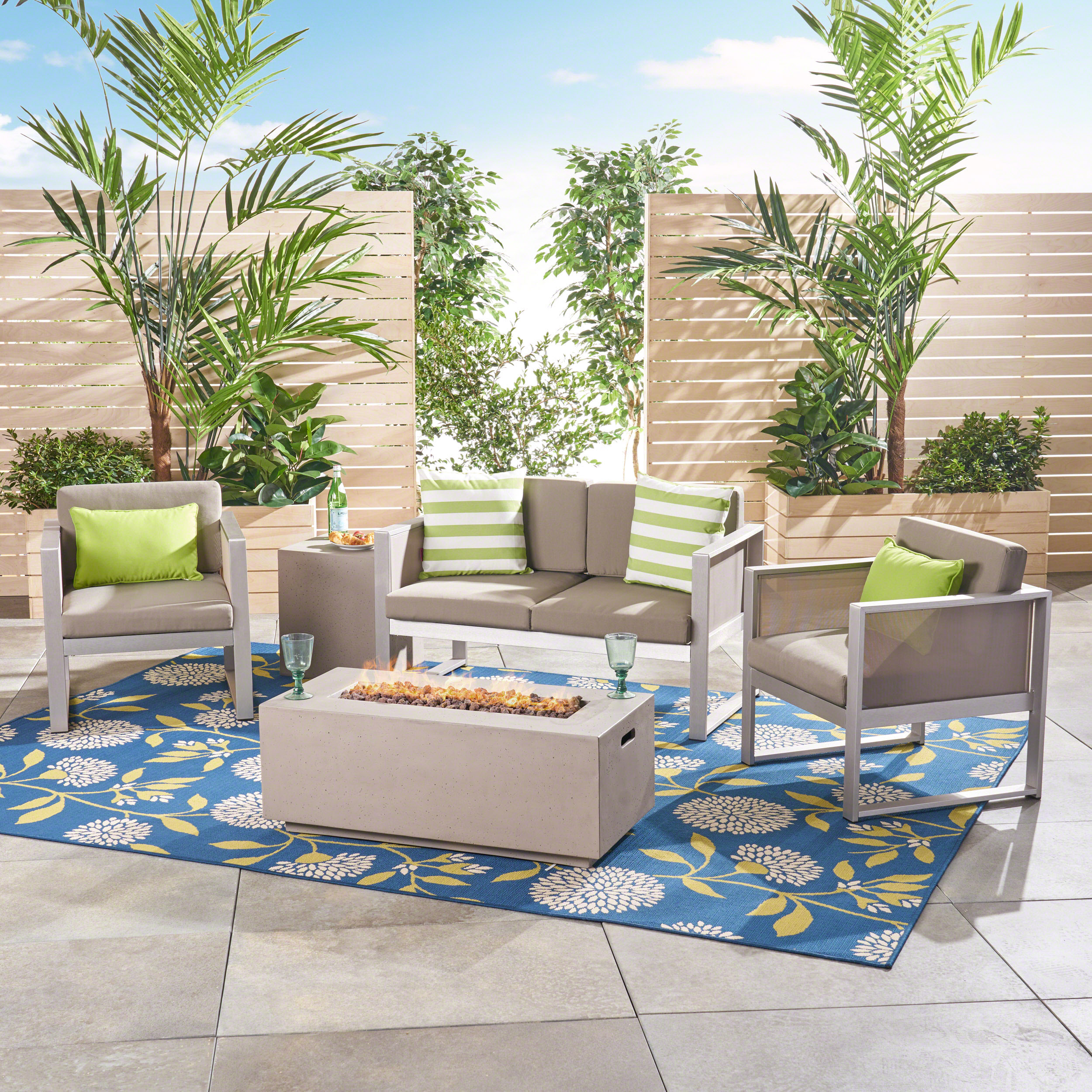 Saanvi Outdoor 5 Piece Aluminum Chat Set with Fire Pit and Tank Holder, Silver, Gray, Light Gray