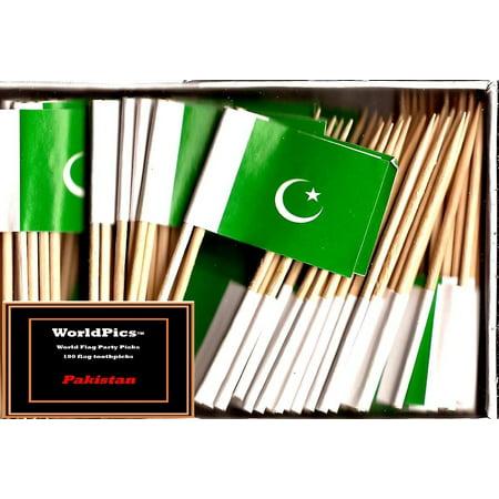One Box Pakistan Toothpick Flags, 100 Small Pakistani Cupcake Flag Toothpicks or Cocktail Picks - Flag Picks
