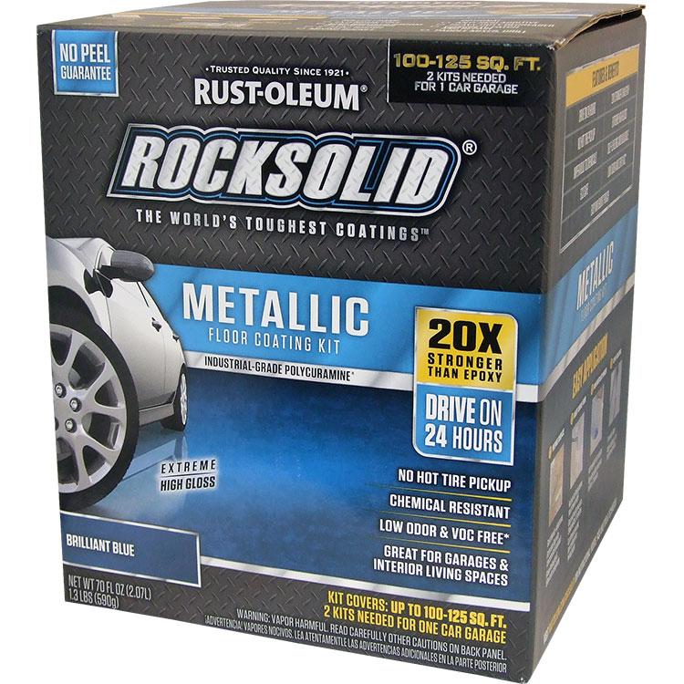 Rust-Oleum 299745 RockSolid Polycuramine Metallic Floor Coating Brilliant Blue 70oz Kit (need 2 for 1 Car Garage)