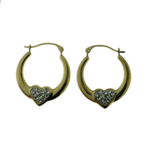 18kt Gold Over Sterling Silver Heart Hoop Earrings W/ Crystal Accents