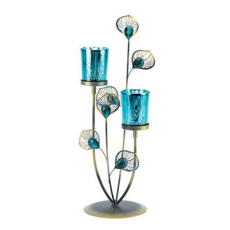 Candle Holders Metal, Peacock Colored Metallic Candle Stand For Votive Candles