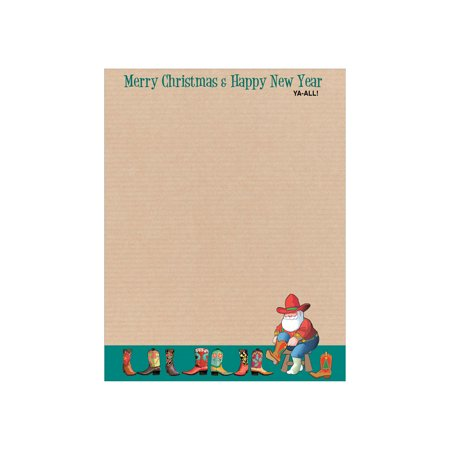 - Western Holiday Letterhead - 80 Sheets Per Pack - Fun Western & Cowboy Theme Christmas Stationery