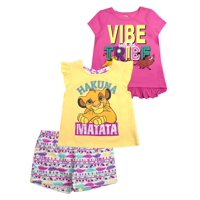 The Lion King Two Graphic Tops and Legging, 3-Piece Outfit Set (Little Girls & Big Girls)