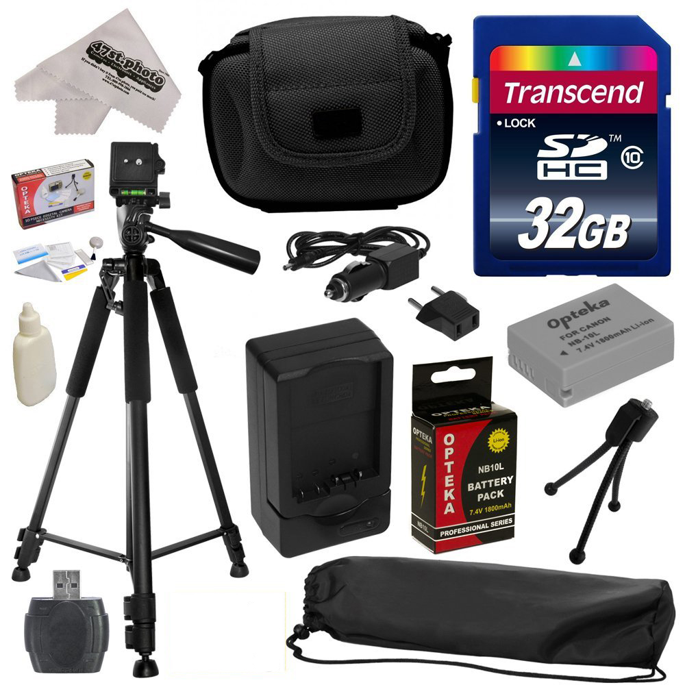Best Value Kit for Canon PowerShot G1X G16 G15 SX50HS SX40HS SX50 SX40 HS Digital Camera with 32GB SDHC Card, Reader, Opteka NB-10L 1800mAh Battery, Case, Tripod, Cleaning Kit