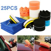 6/25Pcs/set 3 Inch Car Polisher Sponge Polishing Buff Pads Set Kit with M10 Drill Adapter Car Polisher Cleaning Kit