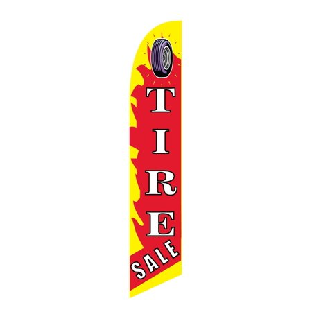 Image of Windless Swooper Flag TIRE SALE Red Yellow White w Tire Pic