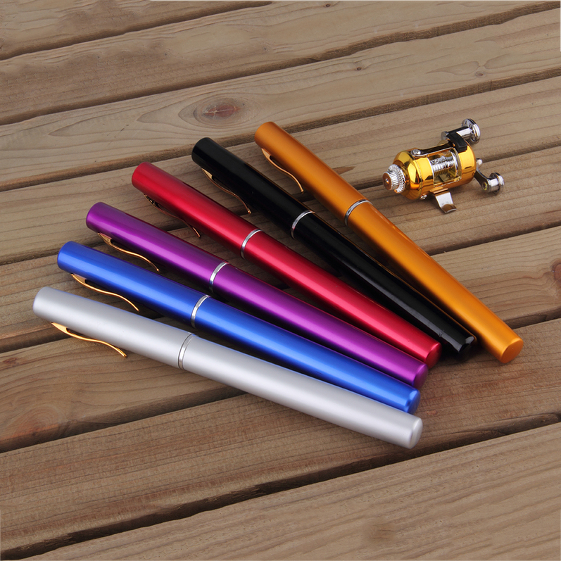 Mini Portable Aluminum Alloy Pocket Pen Shape Fish Fishing Rod Pole With Reel by