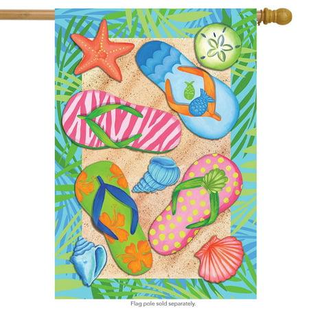 """tropical flip flops summer house flag beach nautical 28"""" x 40"""""""