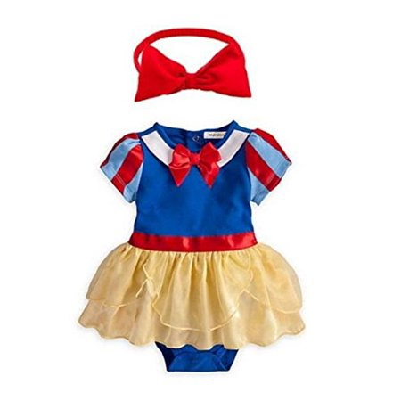 StylesILove Snow White Inspired Photo Prop Baby Girl Dress Costume and Headband 2-pc (6-12 Months) (Baby Spongebob Costume)