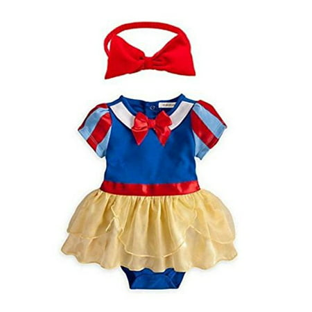 StylesILove Snow White Inspired Photo Prop Baby Girl Dress Costume and Headband 2-pc (6-12 Months)