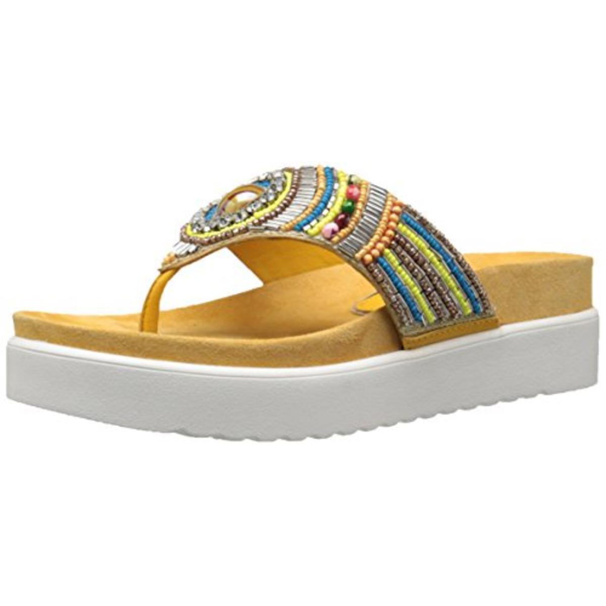 J. Renee Womens Fantina Leather Embelleshed Thong Sandals by J. Renee