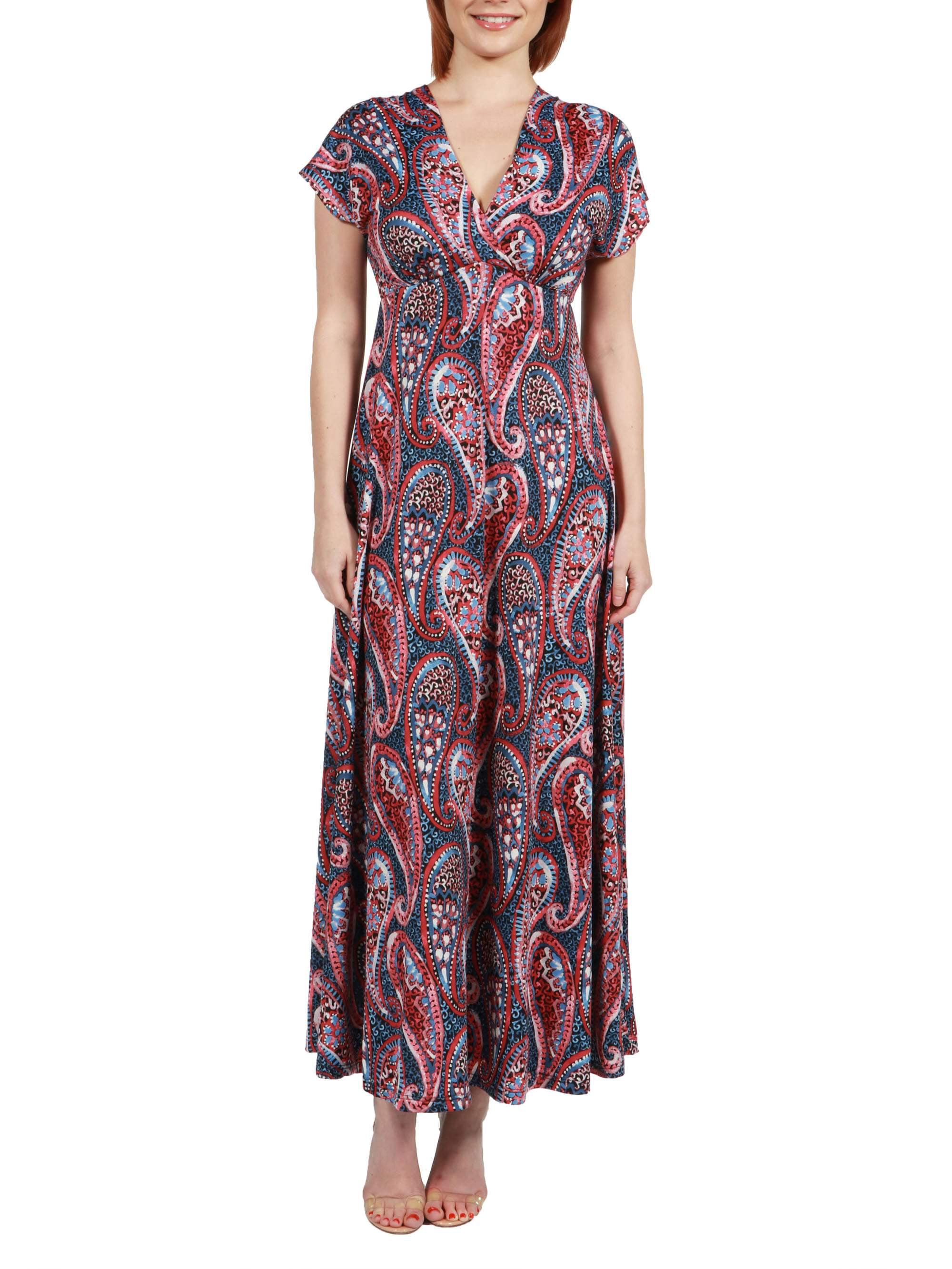 Women's Constance Multicolor Paisley Empire Waist Maxi Dress
