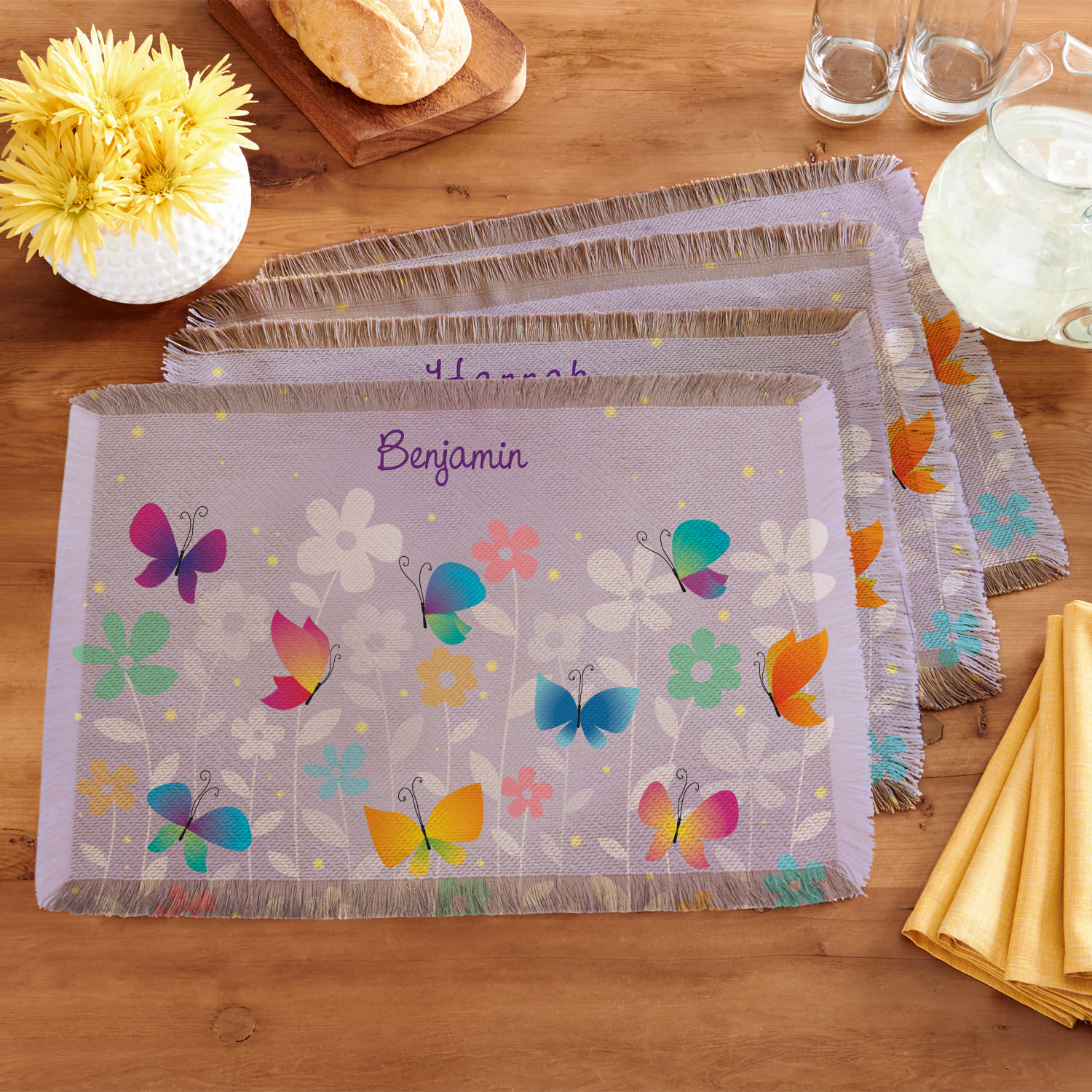 Personalized Spring Butterflies Placemats - Set of 4