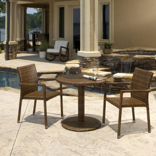 "Panama Jack 3 PC St Barths Bistro Arm Chair Set (2 Arm Chairs & 30"" Round woven table)"