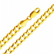 Precious Stars SEC0107200 Yellow Gold 5. 7 mm.  Cuban Chain 20 inch Necklace