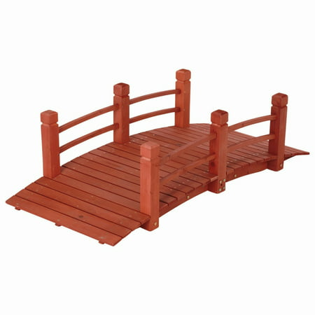5 ft (59 in) Wooden Garden Bridge / Garden Stream Yard Walkway w/ Double Rails