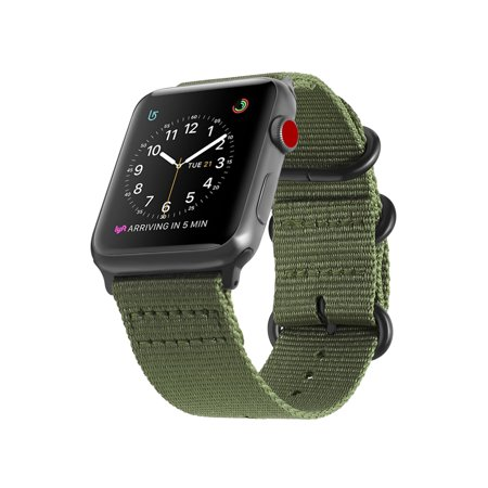 Nylon 4 Buckle (For Apple Watch 4 44mm Band Fintie Woven Nylon Bands Adjustable Sport Strap with Metal Buckle iWatch Series 4 Green)