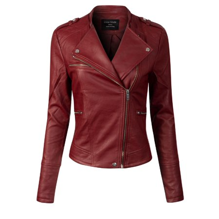 Made by Olivia Women's Long Sleeve Zipper Closure Moto Biker Faux Leather Jacket Red L (Red Jacket Leather Women)